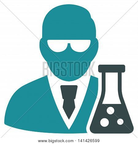 Scientist With Flask vector icon. Style is bicolor flat symbol, soft blue colors, rounded angles, white background.
