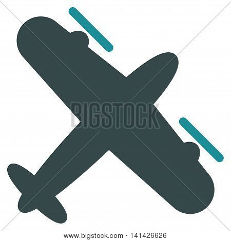 Screw Aeroplane vector icon. Style is bicolor flat symbol, soft blue colors, rounded angles, white background.