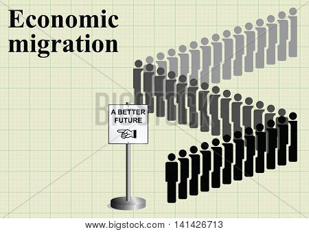 Representation of economic migrants queuing for a better future on graph paper background with copy space for own text