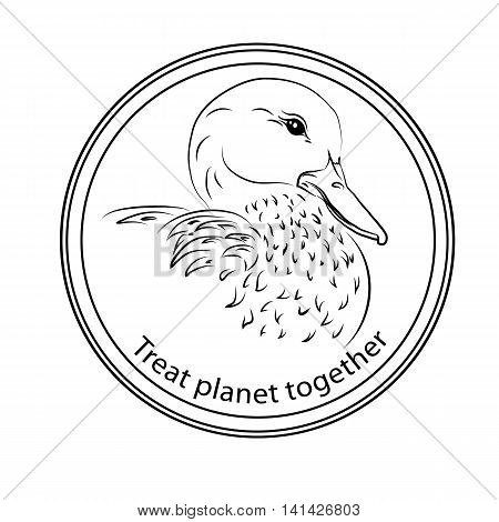 Sticker on the protection and recovery of the planet Earth to join forces for the treatment and protection of animals birds and endangered species