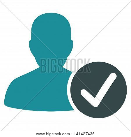 Valid Patient vector icon. Style is bicolor flat symbol, soft blue colors, rounded angles, white background.