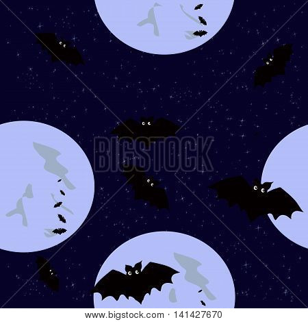 Seamless pattern with funny colored bats in the moonlight for Halloween
