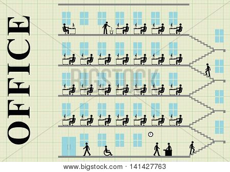 Representation of employees working at their desk in an office block on graph paper background with copy space for own text