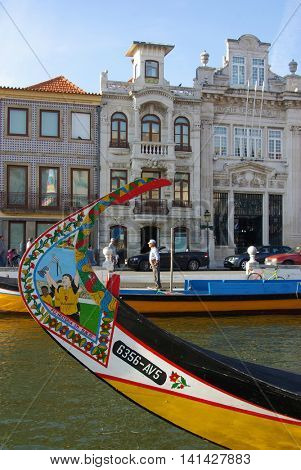 Aveiro, Portugal - 26 April 2008. Typical Moliceiro boat in the canals of the city of Aveiro in Portugal