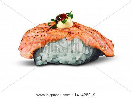 single served syake nigiri sushi made of aburi salmon with pepper isolated on white background