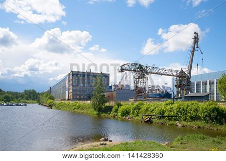 SHLISSELBURG, RUSSIA - JUNE 05, 2016: On a sunny june day at the Nevsky shipyard. Historical landmark of the Shlisselburg, Leningrad region