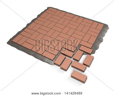 Procedure paving red stone on a white background