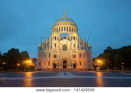 Vintage naval Cathedral of St. Nicholas, white at night. Kronshtadt, Russia