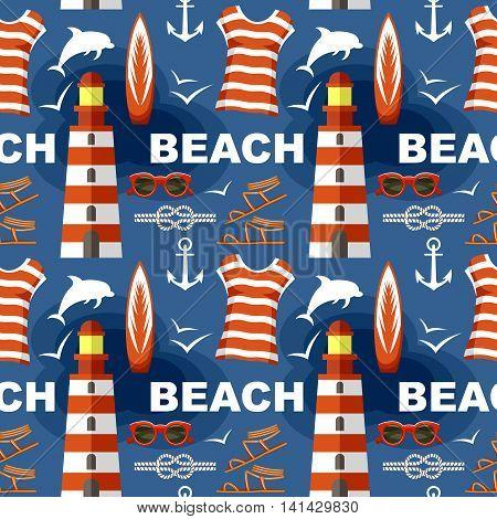 Summer seamless sea patterns . Vector illustration