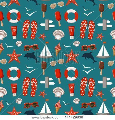 Summer seamless sea patterns. Vector illustration .