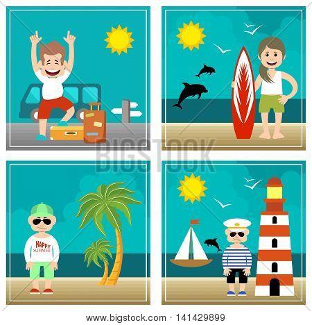 Summer set of illustrations. Holiday sea travel. Vector