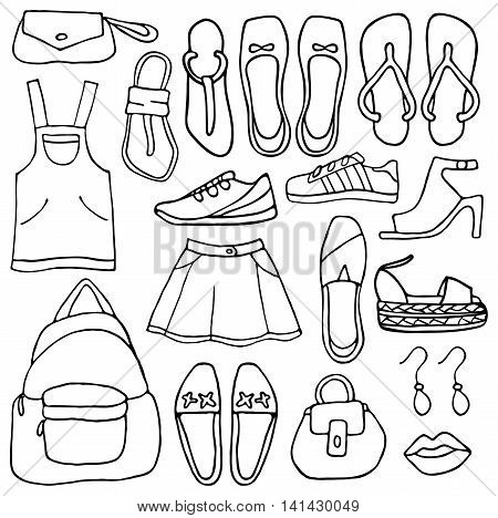 Clothes and shoes vector illustration doodle .