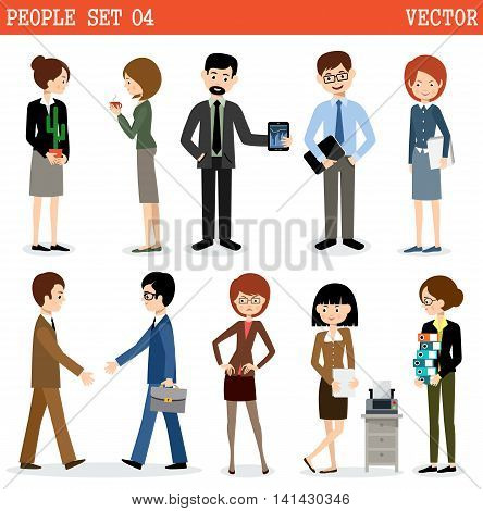 Set of people at office on the white background. Businessmen. Vector illustration