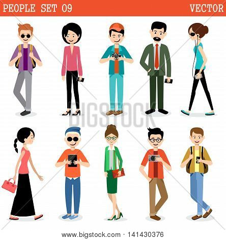 Set of modern people men and women. . Street style. Vector