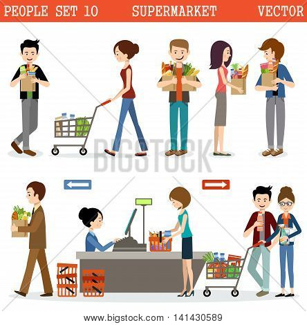 People in a supermarket with purchases. Products. Vector