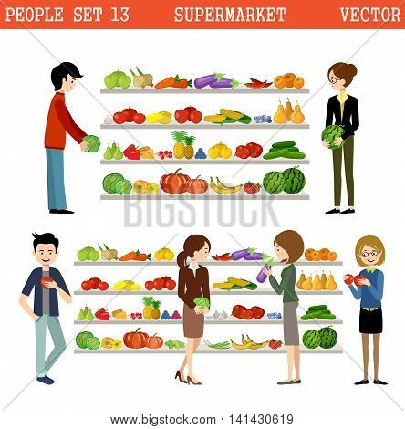 People in a supermarket with purchases. Products. Vegetables and fruit. Vector illustration