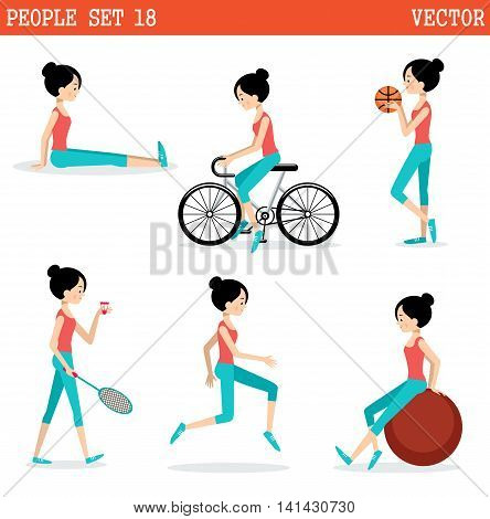 Sports girl. Active lifestyle. Vector illustration .