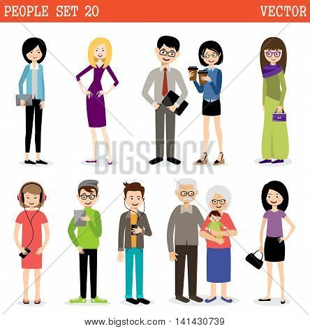 Set of modern people men and women. Street style. Vector