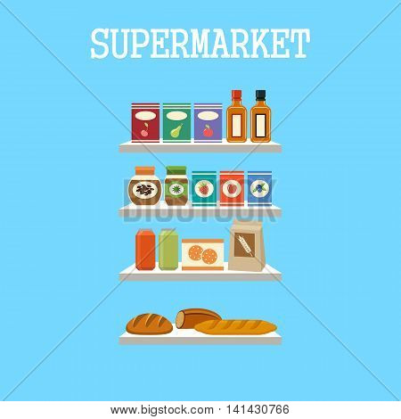 Shelfs with products on a blue background. Vector illustration