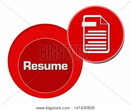 Resume concept image with text and related graphics.