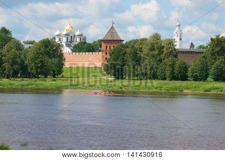 VELIKIY NOVGOROD, RUSSIA - JULY 02, 2016: A sunny july day on the Volkhov river at the Kremlin of Veliky Novgorod. Historical landmark