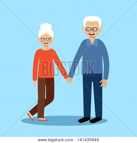 Couple old men and women on the blue background. Vector