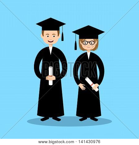 Boy and girl graduates on the blue background. Vector