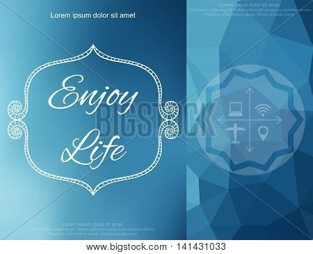Vector illustration of polygonal abstact background with frame