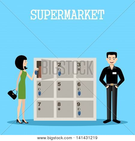 People in a supermarket with purchases. Retail store illustration. Vector