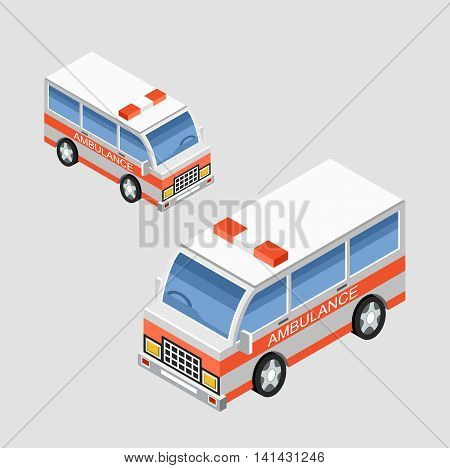Isometric ambulance car in two projections. Vector