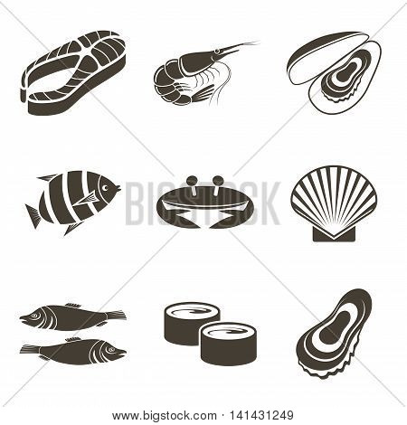 Different fish icons on a white background. Vector illustration
