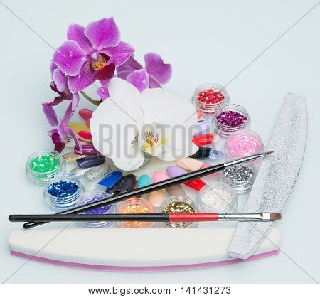 nice fresh manicure big set with flowers
