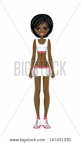 Sports girl afroamerican in a training suit. Fitness trainer. Vector