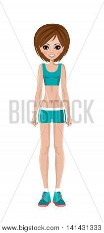 Sports girl in a training suit. Fitness trainer. Vector