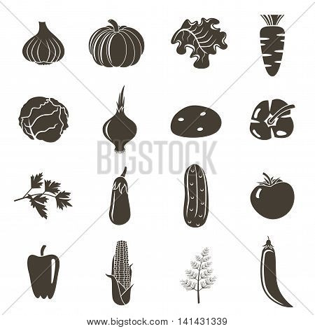 Different vegetable icons on a white background. Vector illustration