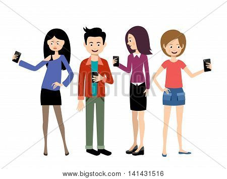 Selfie people set on the white background. Vector
