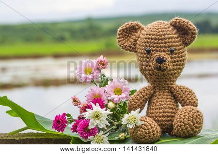 Single bear doll and flowers on nature background