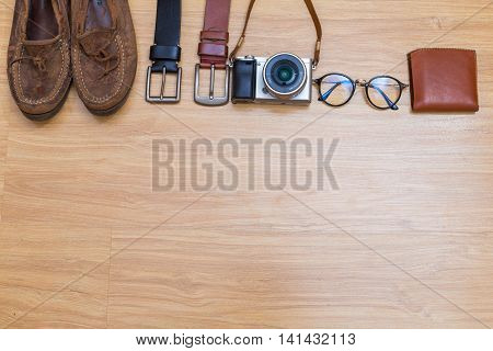 Top View Of Hipster Male Traveller Clothes Some Leather Object