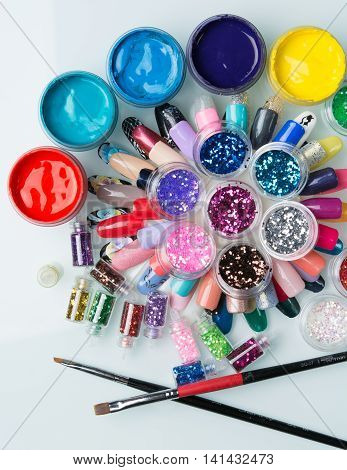 good big set cosmetics for manicure on the table