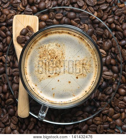 hot black coffee of roasted coffee beans