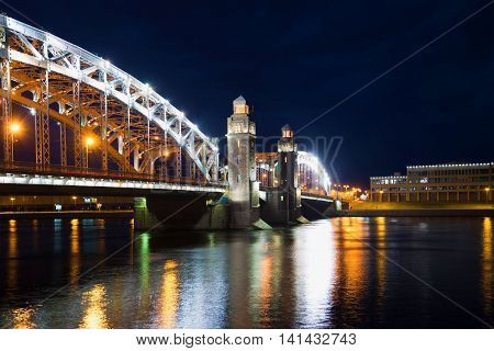 SAINT PETERSBURG, RUSSIA - JUNE 18, 2016: June night at the Bolsheokhtinsky bridge. Historical landmark of the city Saint Petersburg, Russia