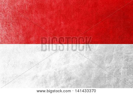 Flag Of Hesse, Germany, Painted On Leather Texture
