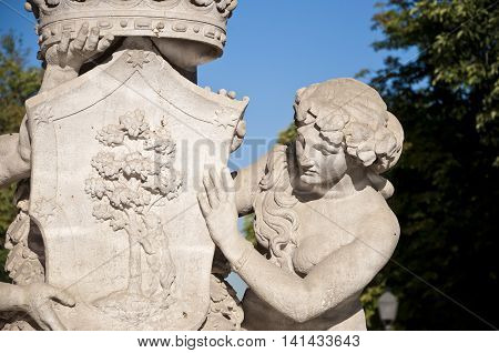 Detail of Artichoke Fountain Retiro Park Madrid Spain. It was built in 1781 by the architect Ventura Rodriguez