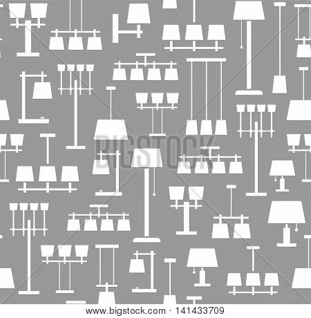 Lamps ceiling, table, floor, background, seamless, gray, monochrome. Vector background with images of various types of lamps. White, flat image on a gray background.