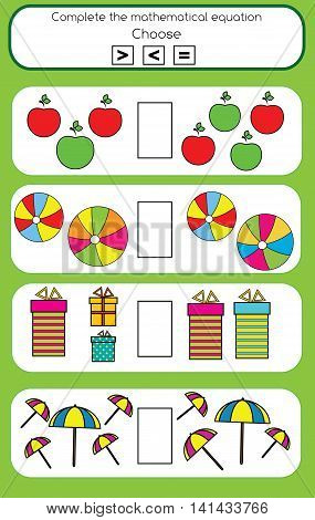 Mathematics educational game for children. Learning counting and algebra kids activity. Complete the mathematical equation task choose more less or equal