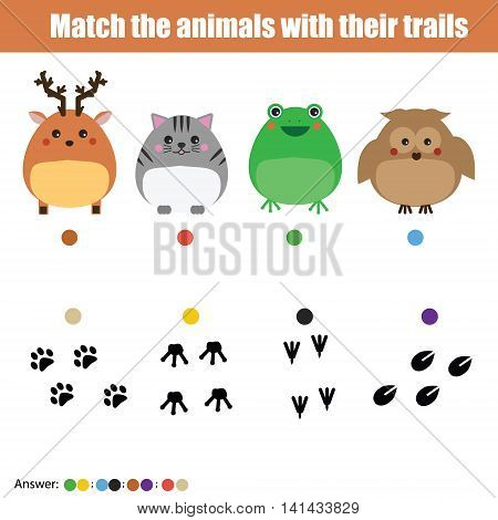Match the insects with homes children education game. Learning animals theme kids activity