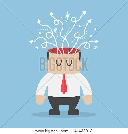 Arrows With Different Directions Are Coming Out Of Businessman Head