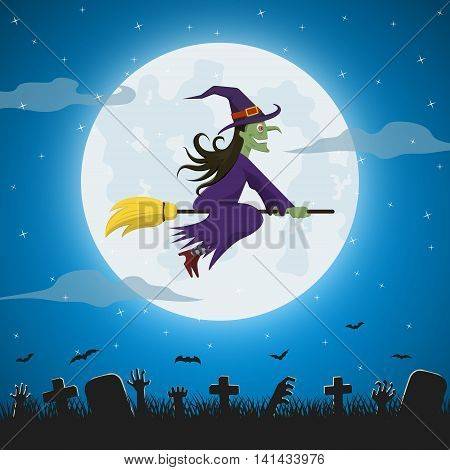 Witch Flying On A Magic Broomstick Against The Full Moon