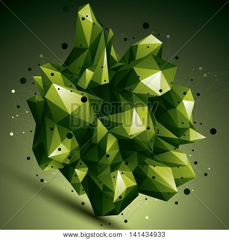 3D Mesh Colorful Modern Stylish Abstract Construction, Origami Facet Object Constructed From Differe