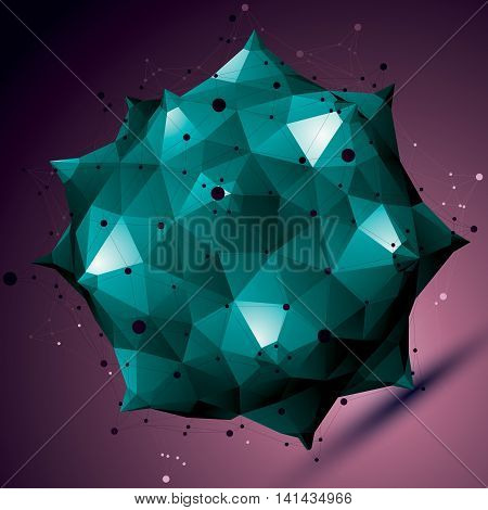 Geometric Abstract 3D Complicated Lattice Object, Colorful Asymmetric Element With Wireframe Structu